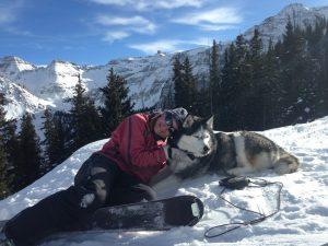 San Juan Mountains of Telluride ski tour - Kim Wheels & Luna
