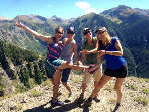 4 Mountain girls playing in the sun, Telluride, Colorado